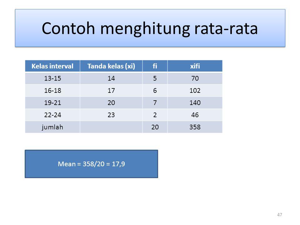 47 Contoh menghitung rata-rata Mean = 358/20 = 17,9 Kelas intervalTanda kelas (xi)fixifi 13-1514570 16-18176102 19-21207140 22-2423246 jumlah20358