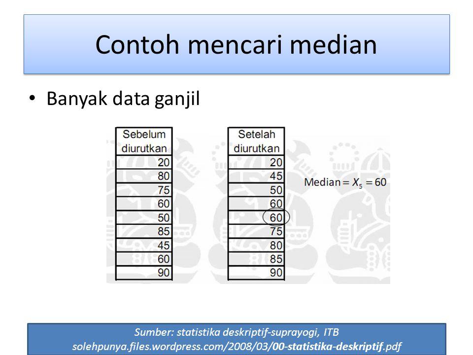 56 Banyak data ganjil Sumber: statistika deskriptif-suprayogi, ITB solehpunya.files.wordpress.com/2008/03/00-statistika-deskriptif.pdf Contoh mencari median