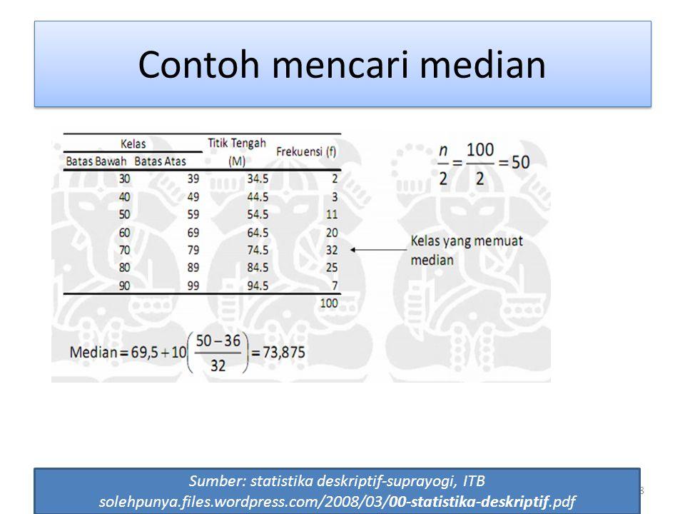 58 Contoh mencari median Sumber: statistika deskriptif-suprayogi, ITB solehpunya.files.wordpress.com/2008/03/00-statistika-deskriptif.pdf
