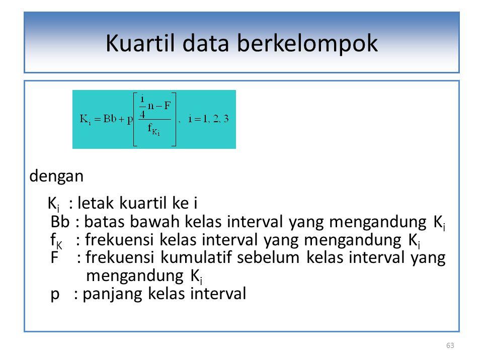 63 dengan K i : letak kuartil ke i Bb : batas bawah kelas interval yang mengandung K i f K : frekuensi kelas interval yang mengandung K i F : frekuensi kumulatif sebelum kelas interval yang mengandung K i p : panjang kelas interval Kuartil data berkelompok