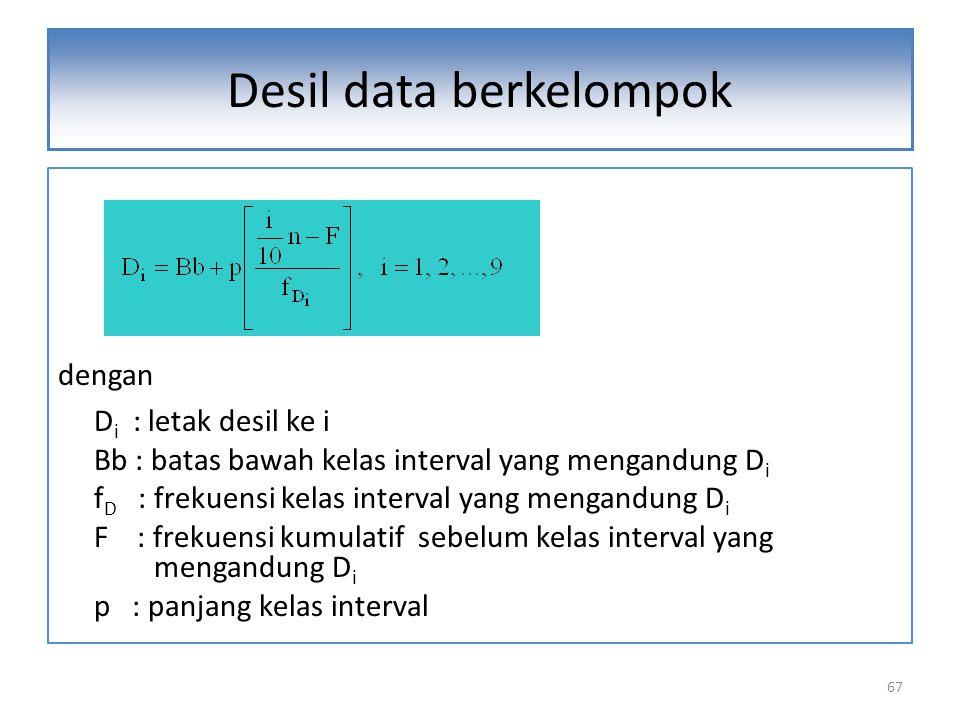 dengan D i : letak desil ke i Bb : batas bawah kelas interval yang mengandung D i f D : frekuensi kelas interval yang mengandung D i F : frekuensi kumulatif sebelum kelas interval yang mengandung D i p : panjang kelas interval 67 Desil data berkelompok
