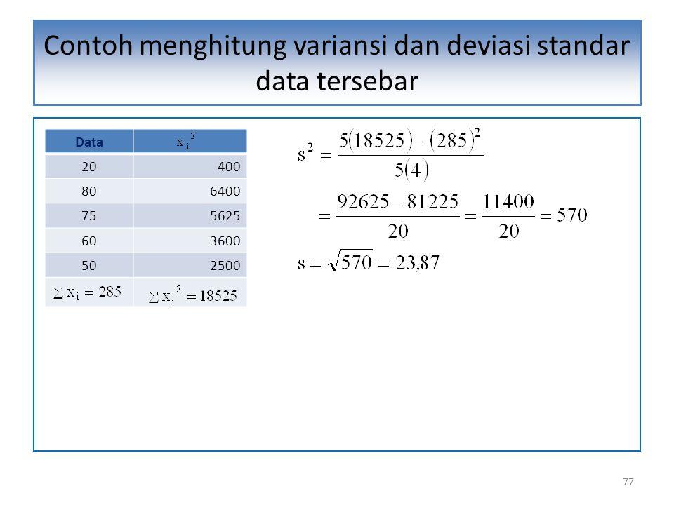 77 Contoh menghitung variansi dan deviasi standar data tersebar Data 20400 806400 755625 603600 502500