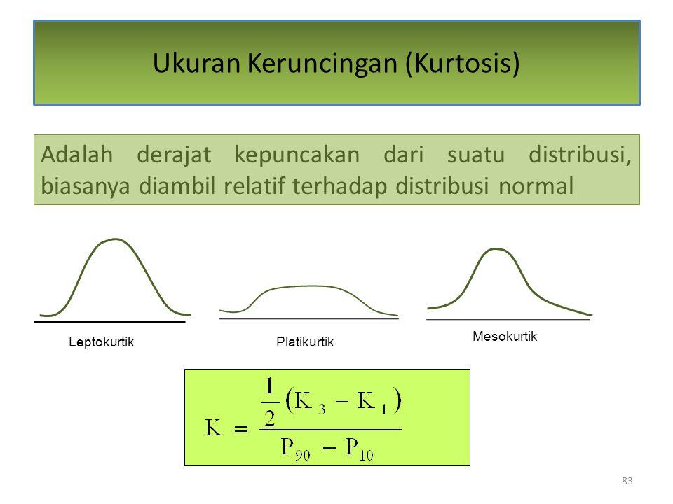 83 Ukuran Keruncingan (Kurtosis) Adalah derajat kepuncakan dari suatu distribusi, biasanya diambil relatif terhadap distribusi normal LeptokurtikPlatikurtik Mesokurtik