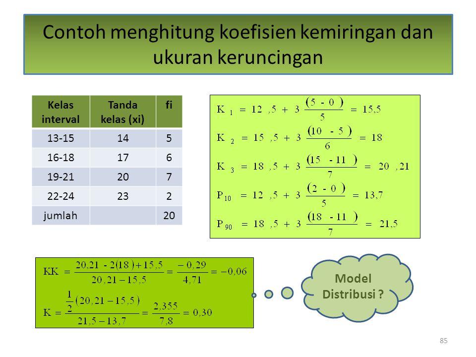 85 Contoh menghitung koefisien kemiringan dan ukuran keruncingan Kelas interval Tanda kelas (xi) fi 13-15145 16-18176 19-21207 22-24232 jumlah20 Model