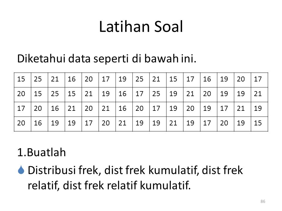 86 Latihan Soal Diketahui data seperti di bawah ini.