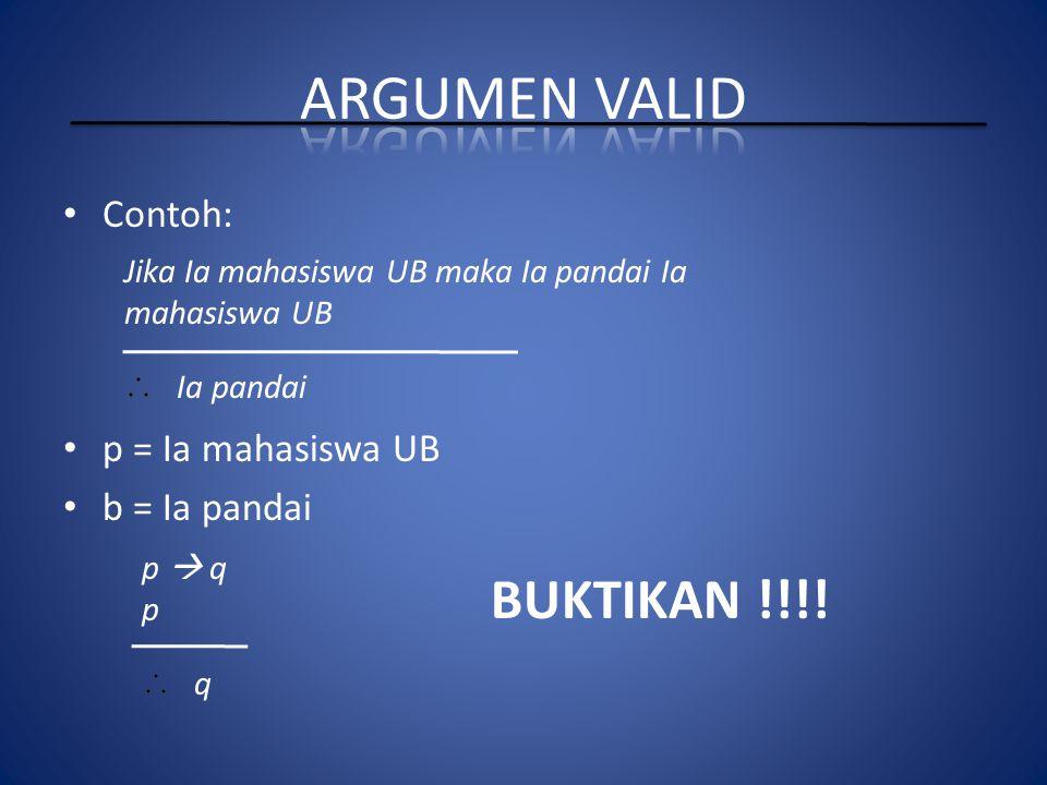 Contoh: p = Ia mahasiswa UB b = Ia pandai Jika Ia mahasiswa UB maka Ia pandai Ia mahasiswa UB Ia pandai p  q p q BUKTIKAN !!!!