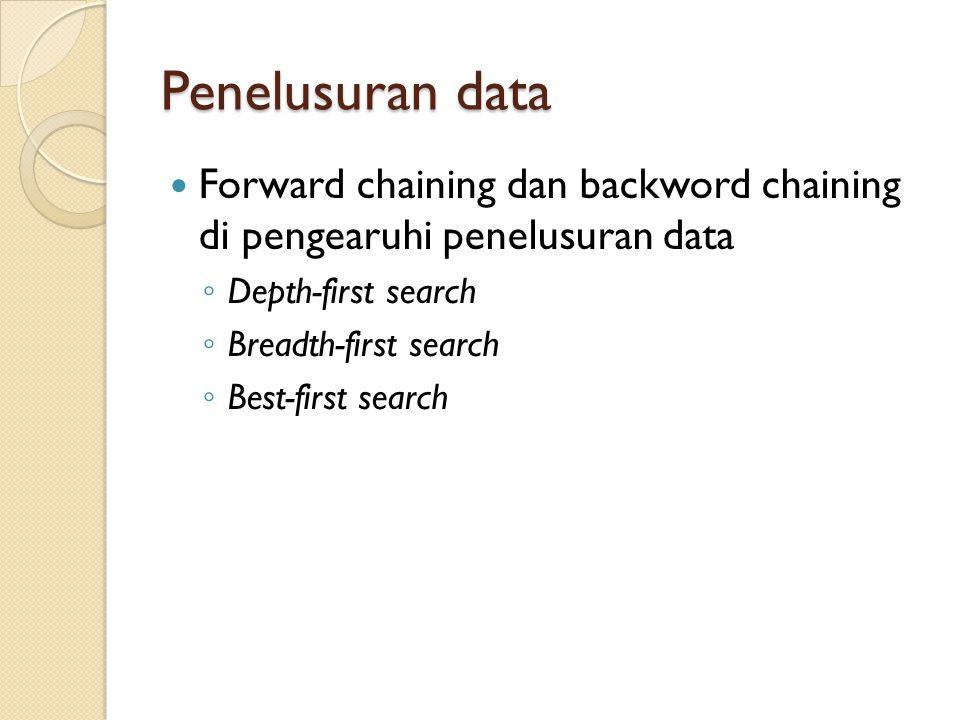 Penelusuran data Forward chaining dan backword chaining di pengearuhi penelusuran data ◦ Depth-first search ◦ Breadth-first search ◦ Best-first search