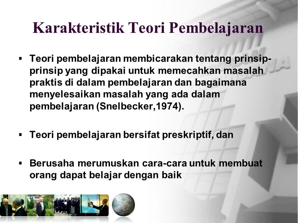 Mkn.PPs.PIPS 13 Karakteristik Teori Pembelajaran  Teori pembelajaran membicarakan tentang prinsip- prinsip yang dipakai untuk memecahkan masalah praktis di dalam pembelajaran dan bagaimana menyelesaikan masalah yang ada dalam pembelajaran (Snelbecker,1974).