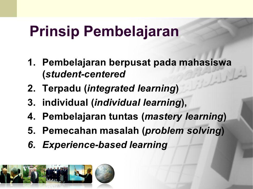 Mkn.PPs.PIPS 15 Prinsip Pembelajaran 1.Pembelajaran berpusat pada mahasiswa (student-centered 2.Terpadu (integrated learning) 3.individual (individual learning), 4.Pembelajaran tuntas (mastery learning) 5.Pemecahan masalah (problem solving) 6.Experience-based learning
