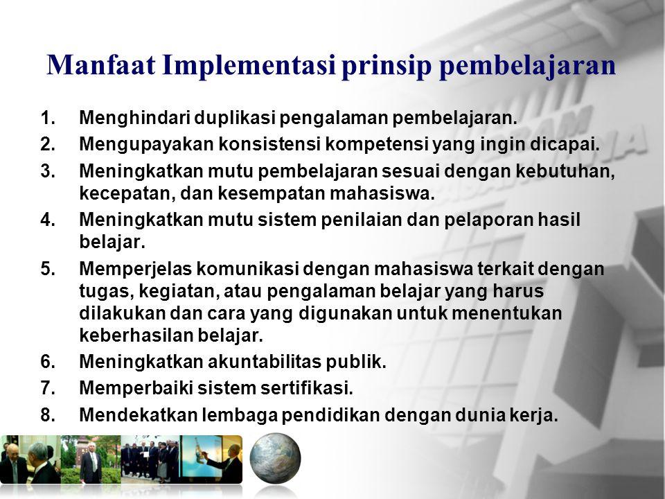 Mkn.PPs.PIPS 16 Manfaat Implementasi prinsip pembelajaran 1.Menghindari duplikasi pengalaman pembelajaran.