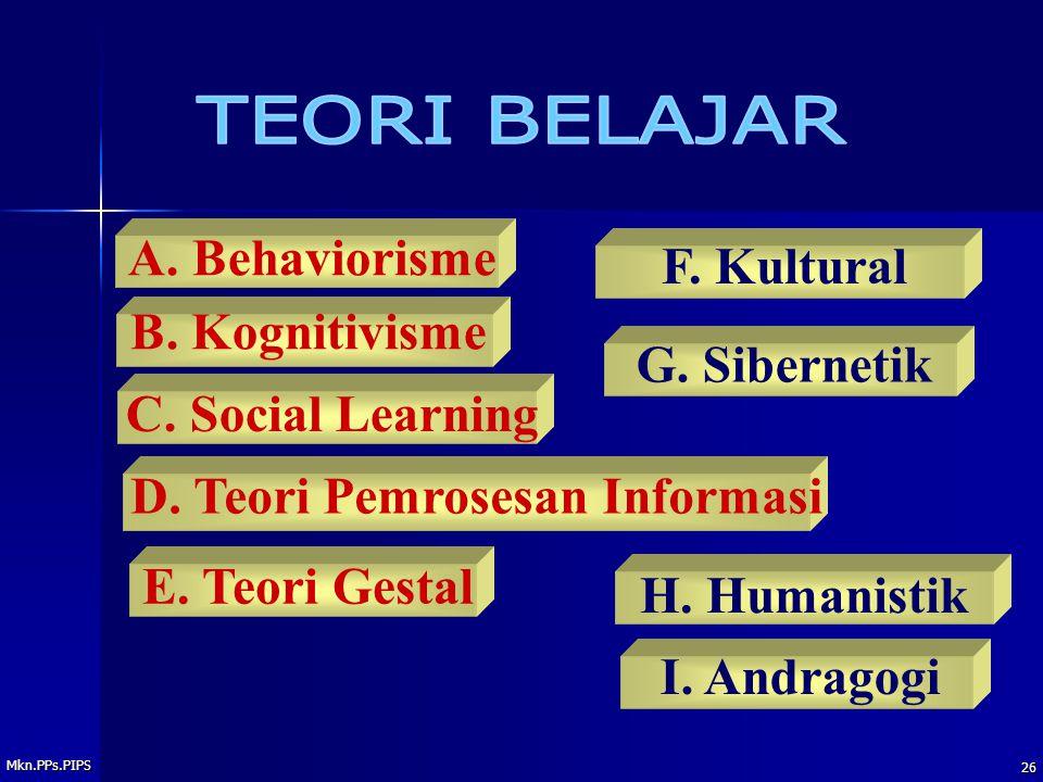 Mkn.PPs.PIPS 26 A.Behaviorisme B. Kognitivisme H.