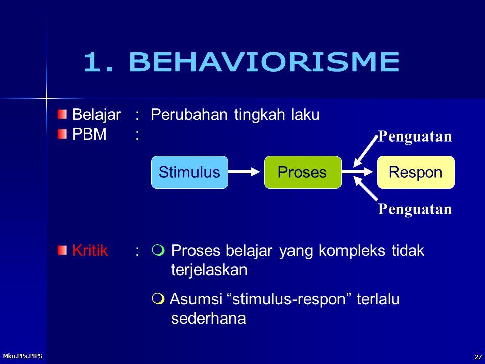 Mkn.PPs.PIPS 27 Belajar: Perubahan tingkah laku PBM: Kritik:mProses belajar yang kompleks tidak terjelaskan m Asumsi stimulus-respon terlalu sederhana StimulusProsesRespon Penguatan