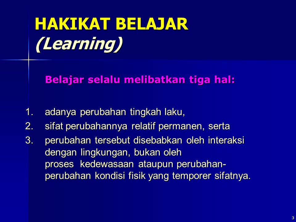 Mkn.PPs.PIPS 14 Unsur-unsur dinamis dalam pembelajaran Merupakan kondisi eksternal belajar, yang meliputi: 1.bahan belajar, 2.suasana belajar, 3.media dan umber belajar, dan 4.subjek pembelajar (guru)