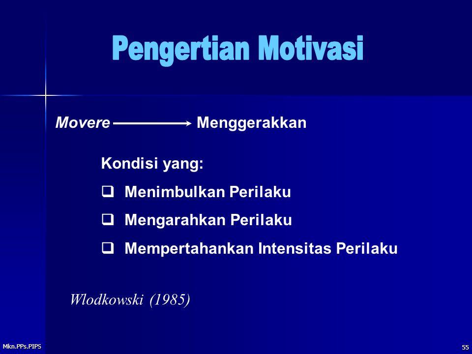 Mkn.PPs.PIPS 55 Kondisi yang:  Menimbulkan Perilaku  Mengarahkan Perilaku  Mempertahankan Intensitas Perilaku MovereMenggerakkan Wlodkowski (1985)