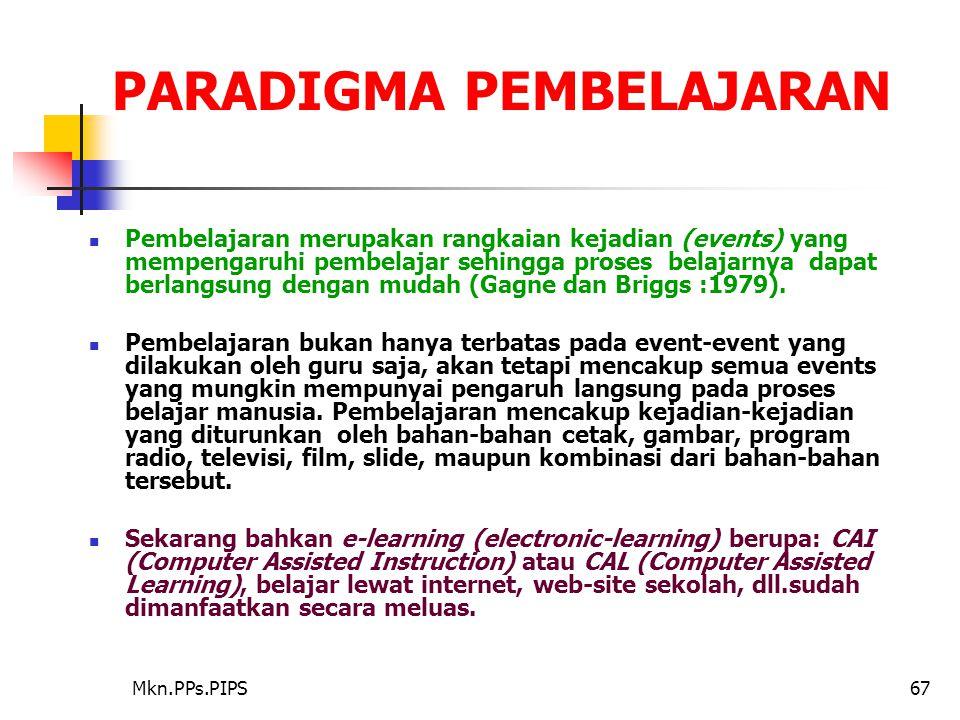 Mkn.PPs.PIPS67 PARADIGMA PEMBELAJARAN Pembelajaran merupakan rangkaian kejadian (events) yang mempengaruhi pembelajar sehingga proses belajarnya dapat berlangsung dengan mudah (Gagne dan Briggs :1979).