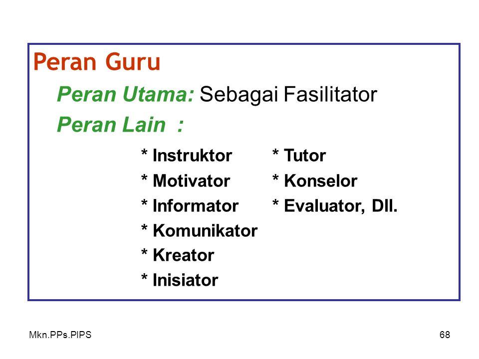 Mkn.PPs.PIPS68 Peran Guru Peran Utama: Sebagai Fasilitator Peran Lain: * Instruktor* Tutor * Motivator * Konselor * Informator* Evaluator, Dll.