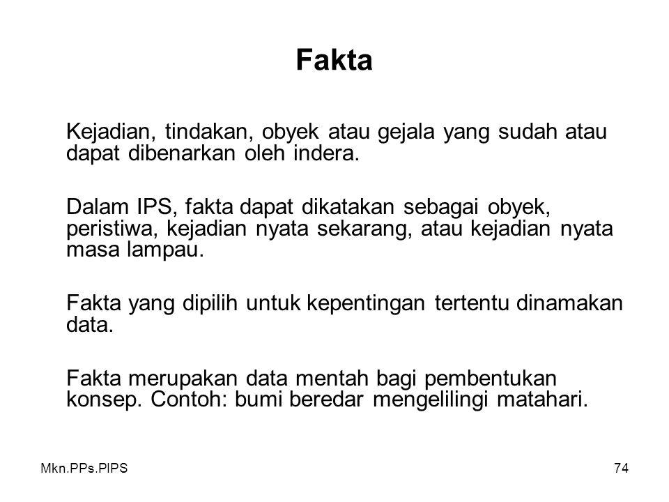Mkn.PPs.PIPS74 Fakta Kejadian, tindakan, obyek atau gejala yang sudah atau dapat dibenarkan oleh indera.
