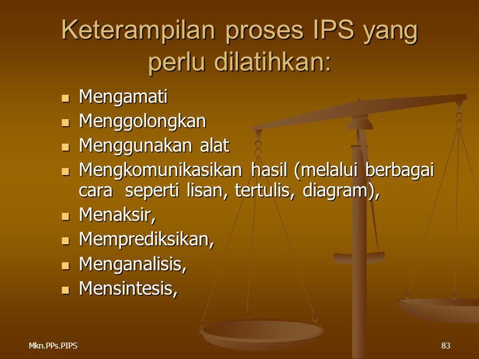 Mkn.PPs.PIPS83 Keterampilan proses IPS yang perlu dilatihkan: Mengamati Mengamati Menggolongkan Menggolongkan Menggunakan alat Menggunakan alat Mengkomunikasikan hasil (melalui berbagai cara seperti lisan, tertulis, diagram), Mengkomunikasikan hasil (melalui berbagai cara seperti lisan, tertulis, diagram), Menaksir, Menaksir, Memprediksikan, Memprediksikan, Menganalisis, Menganalisis, Mensintesis, Mensintesis,