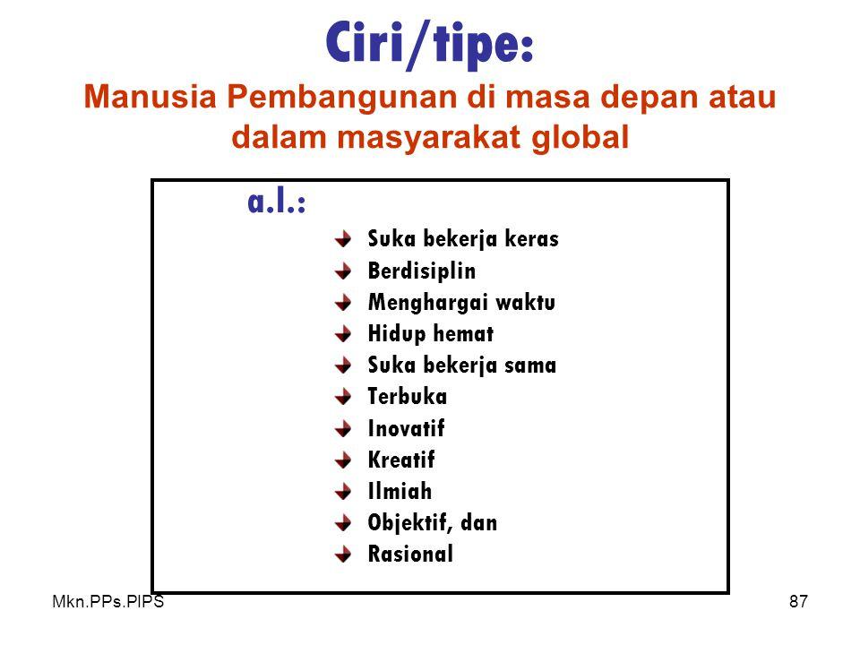 Mkn.PPs.PIPS87 Ciri/tipe: Manusia Pembangunan di masa depan atau dalam masyarakat global a.l.: Suka bekerja keras Berdisiplin Menghargai waktu Hidup hemat Suka bekerja sama Terbuka Inovatif Kreatif Ilmiah Objektif, dan Rasional