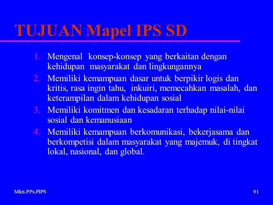 Mkn.PPs.PIPS91 TUJUAN Mapel IPS SD 1.Mengenal konsep-konsep yang berkaitan dengan kehidupan masyarakat dan lingkungannya 2.Memiliki kemampuan dasar untuk berpikir logis dan kritis, rasa ingin tahu, inkuiri, memecahkan masalah, dan keterampilan dalam kehidupan sosial 3.Memiliki komitmen dan kesadaran terhadap nilai-nilai sosial dan kemanusiaan 4.Memiliki kemampuan berkomunikasi, bekerjasama dan berkompetisi dalam masyarakat yang majemuk, di tingkat lokal, nasional, dan global.