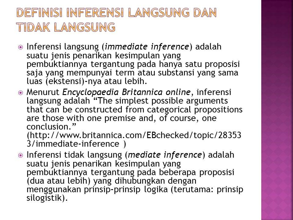  Inferensi langsung (immediate inference) adalah suatu jenis penarikan kesimpulan yang pembuktiannya tergantung pada hanya satu proposisi saja yang mempunyai term atau substansi yang sama luas (ekstensi)-nya atau lebih.