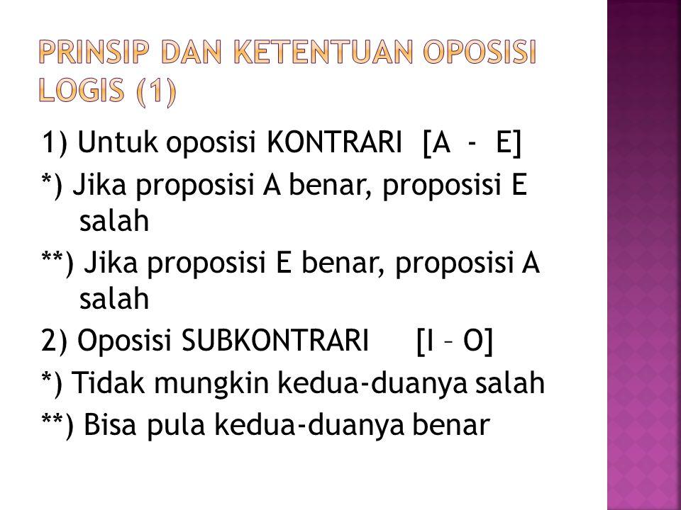 1) Untuk oposisi KONTRARI [A - E] *) Jika proposisi A benar, proposisi E salah **) Jika proposisi E benar, proposisi A salah 2) Oposisi SUBKONTRARI [I – O] *) Tidak mungkin kedua-duanya salah **) Bisa pula kedua-duanya benar