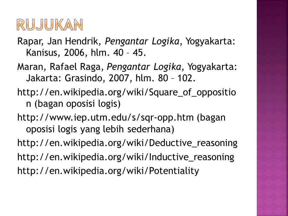 Rapar, Jan Hendrik, Pengantar Logika, Yogyakarta: Kanisus, 2006, hlm.