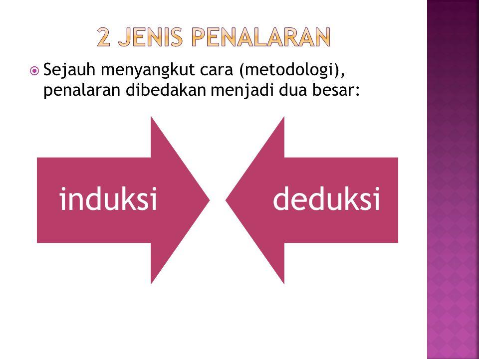  Sejauh menyangkut cara (metodologi), penalaran dibedakan menjadi dua besar: induksideduksi