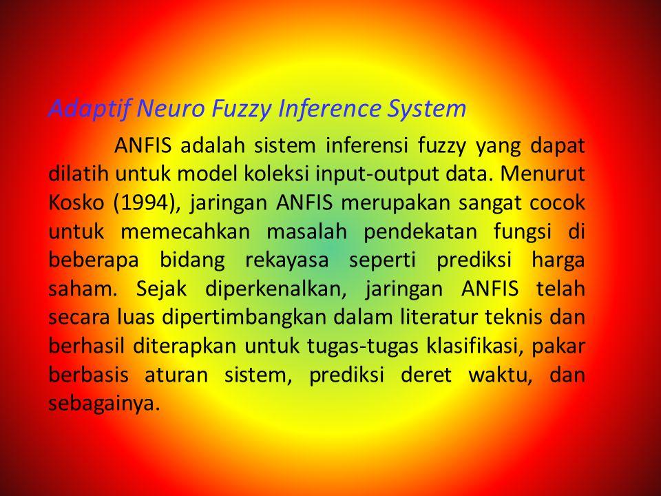 Adaptif Neuro Fuzzy Inference System ANFIS adalah sistem inferensi fuzzy yang dapat dilatih untuk model koleksi input-output data. Menurut Kosko (1994