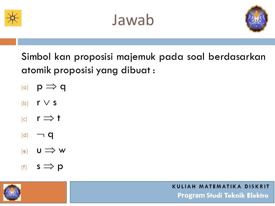 Jawab KULIAH MATEMATIKA DISKRIT Program Studi Teknik Elektro Lakukan Inferensi : (a) p  q (b) r  s (c) r  t (d)  q (e) u  w (f) s  p