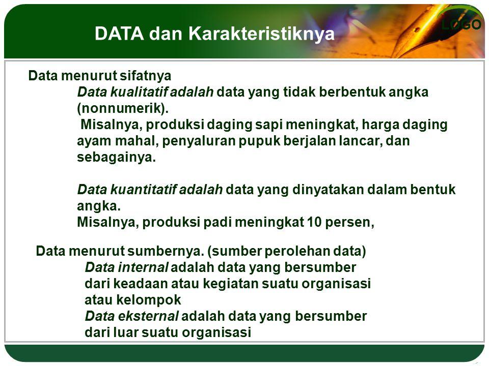 LOGO Data menurut sifatnya Data kualitatif adalah data yang tidak berbentuk angka (nonnumerik). Misalnya, produksi daging sapi meningkat, harga daging