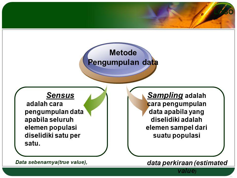 LOGO Data sebenarnya(true value), Metode Pengumpulan data Sampling adalah cara pengumpulan data apabila yang diselidiki adalah elemen sampel dari suatu populasi Sensus adalah cara pengumpulan data apabila seluruh elemen populasi diselidiki satu per satu.