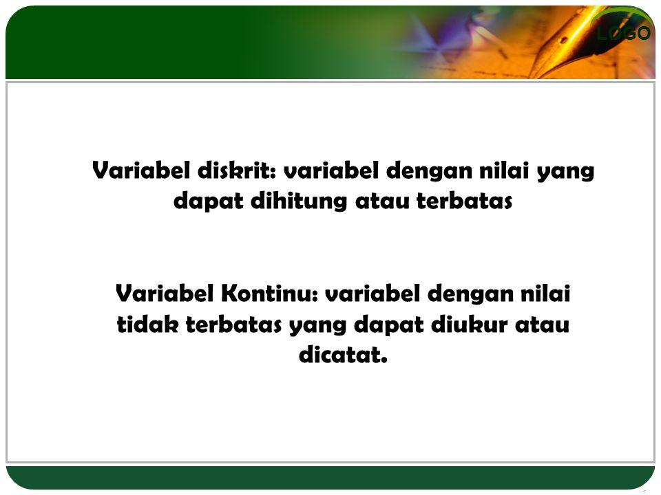 LOGO Variabel diskrit: variabel dengan nilai yang dapat dihitung atau terbatas Variabel Kontinu: variabel dengan nilai tidak terbatas yang dapat diukur atau dicatat.