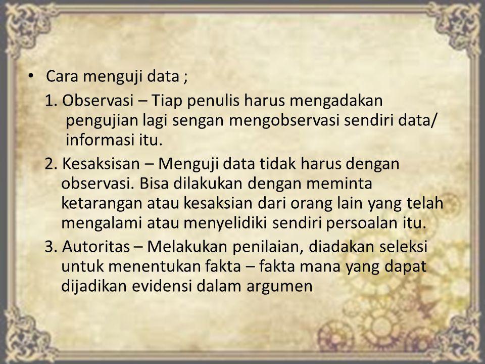 Cara menguji data ; 1.