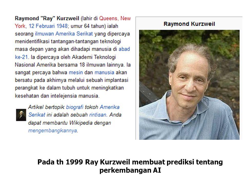 Pada th 1999 Ray Kurzweil membuat prediksi tentang perkembangan AI