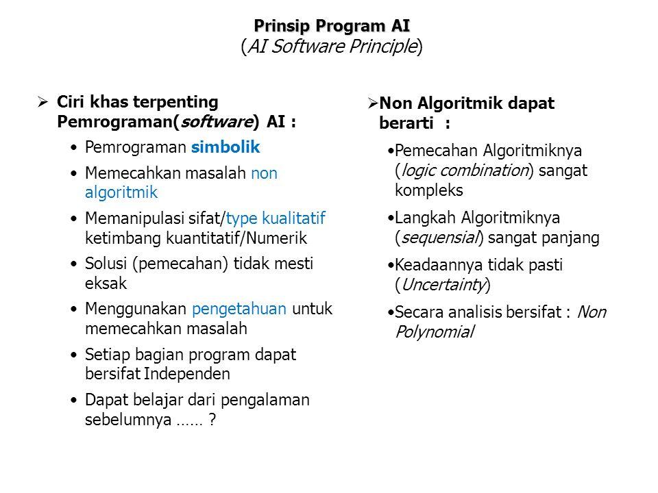 Prinsip Program AI (AI Software Principle)  Ciri khas terpenting Pemrograman(software) AI : Pemrograman simbolik Memecahkan masalah non algoritmik Me