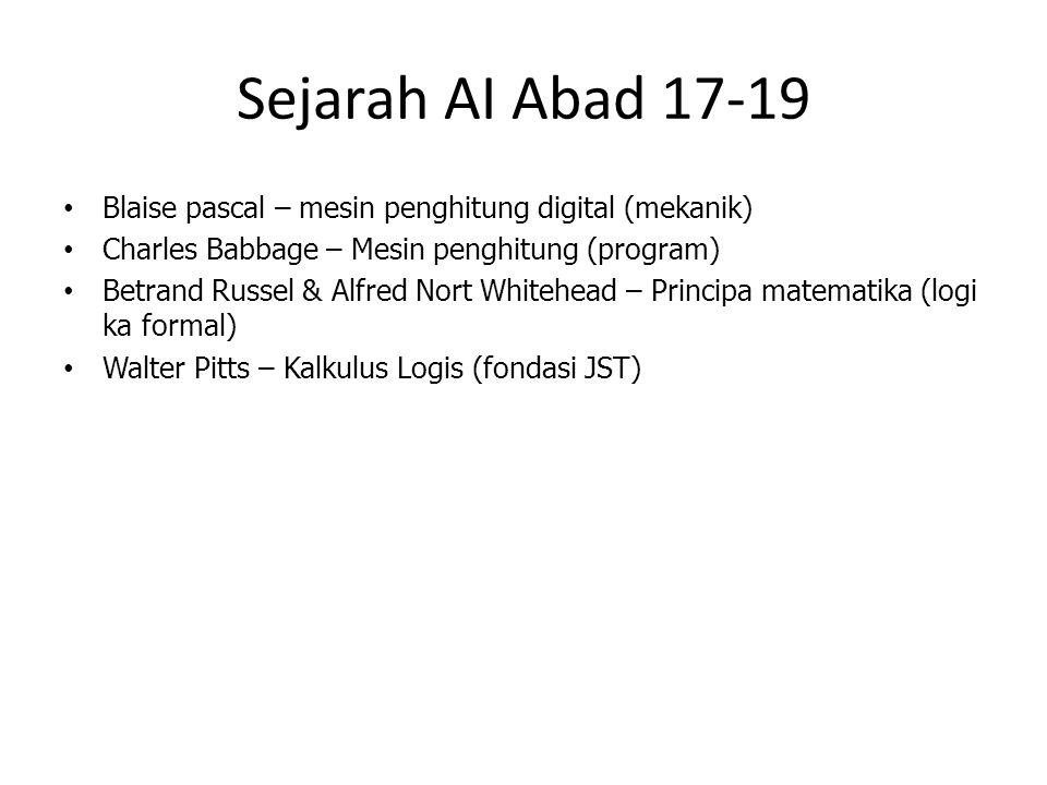 Sejarah AI Abad 17-19 Blaise pascal – mesin penghitung digital (mekanik) Charles Babbage – Mesin penghitung (program) Betrand Russel & Alfred Nort Whi