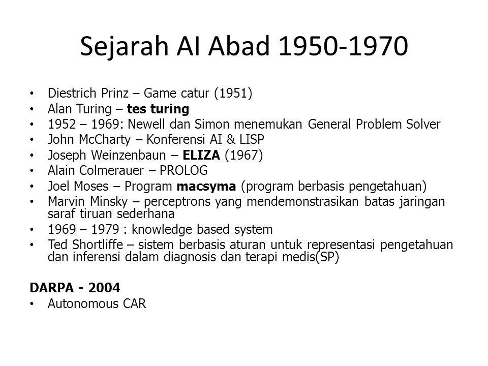 Sejarah AI Abad 1950-1970 Diestrich Prinz – Game catur (1951) Alan Turing – tes turing 1952 – 1969: Newell dan Simon menemukan General Problem Solver