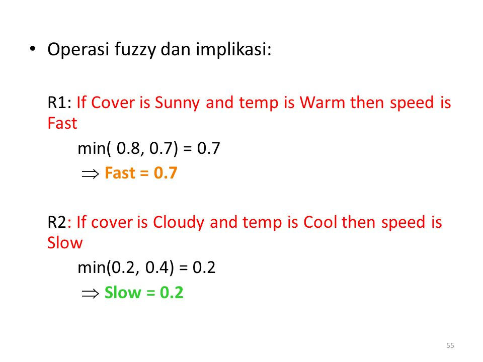 Operasi fuzzy dan implikasi: R1: If Cover is Sunny and temp is Warm then speed is Fast min( 0.8, 0.7) = 0.7  Fast = 0.7 R2: If cover is Cloudy and te