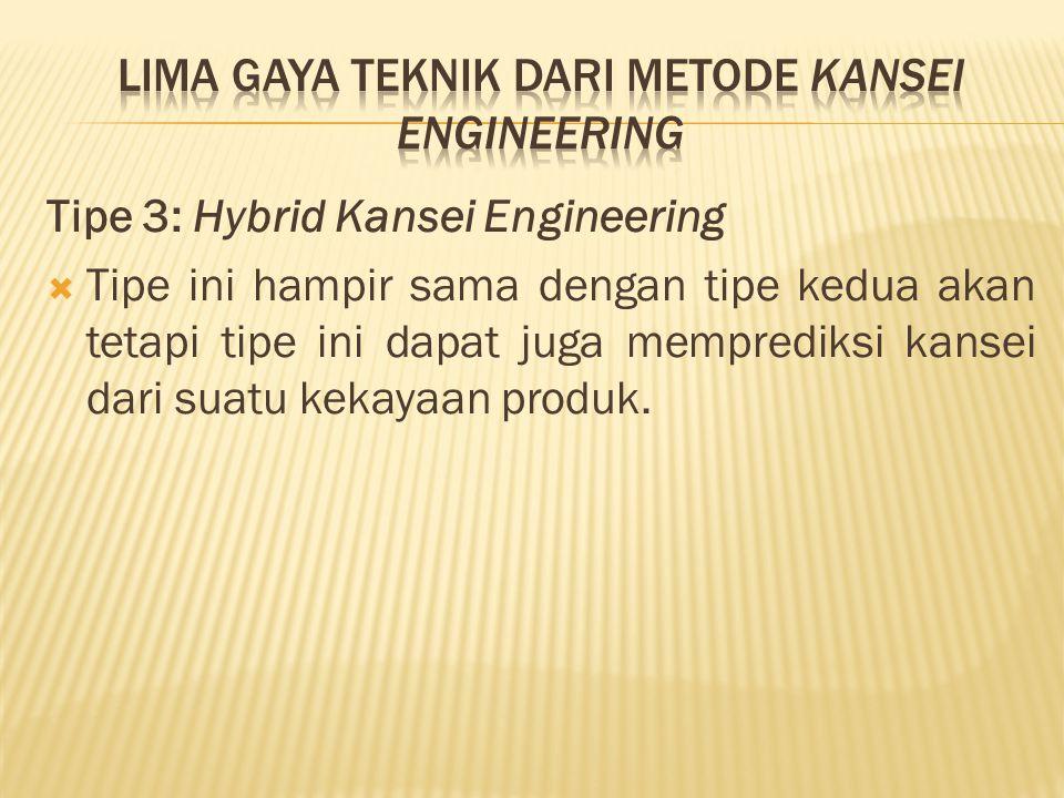 Tipe 3: Hybrid Kansei Engineering  Tipe ini hampir sama dengan tipe kedua akan tetapi tipe ini dapat juga memprediksi kansei dari suatu kekayaan produk.