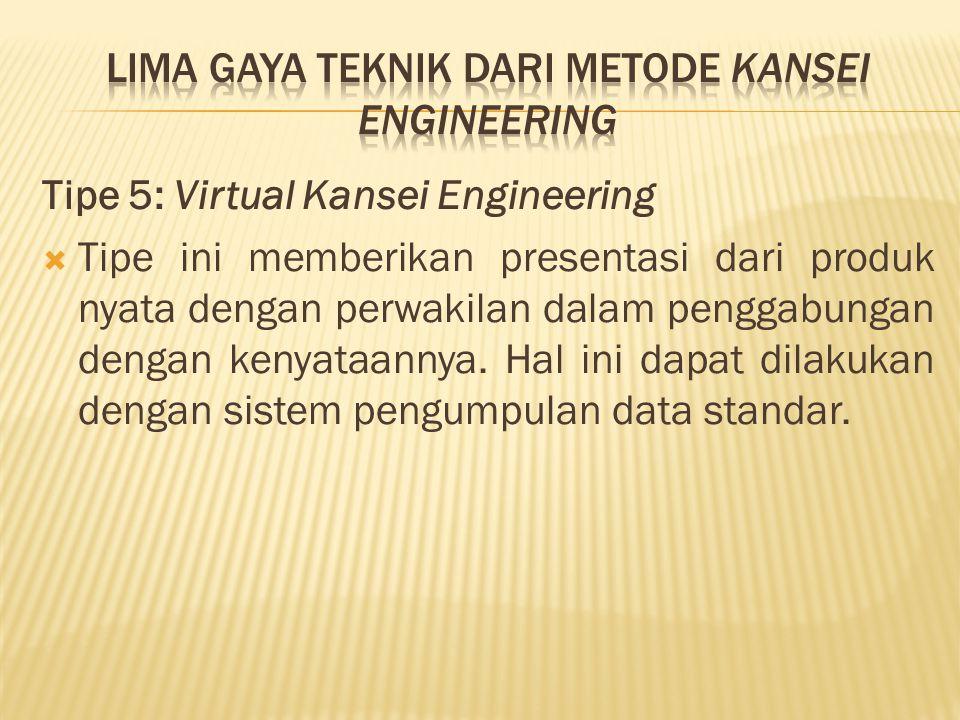 Tipe 5: Virtual Kansei Engineering  Tipe ini memberikan presentasi dari produk nyata dengan perwakilan dalam penggabungan dengan kenyataannya. Hal in
