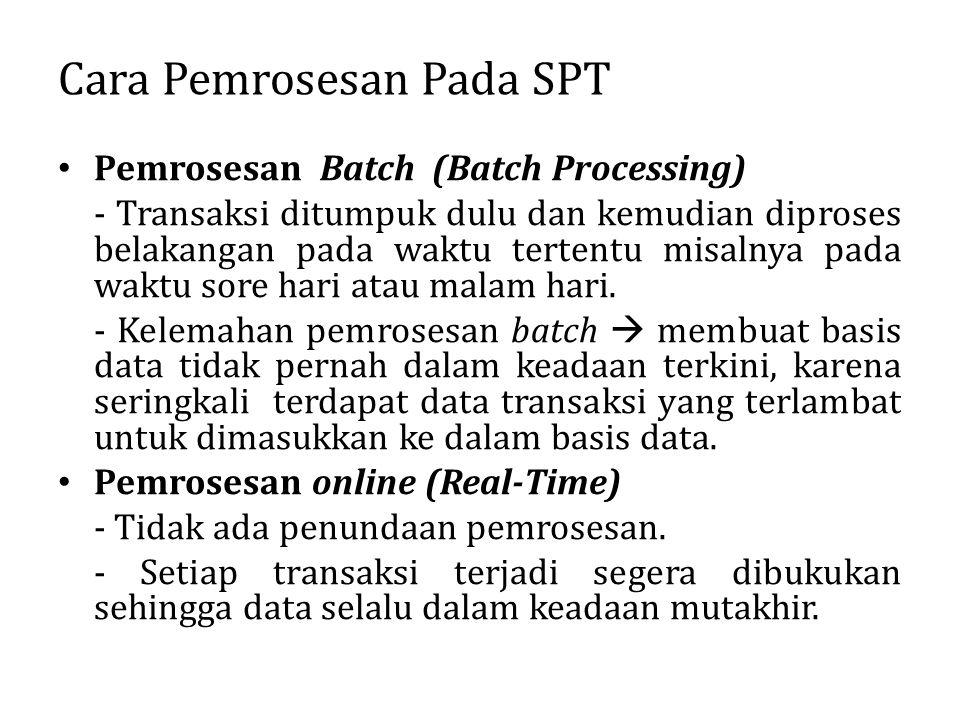 Cara Pemrosesan Pada SPT Pemrosesan Batch (Batch Processing) - Transaksi ditumpuk dulu dan kemudian diproses belakangan pada waktu tertentu misalnya p