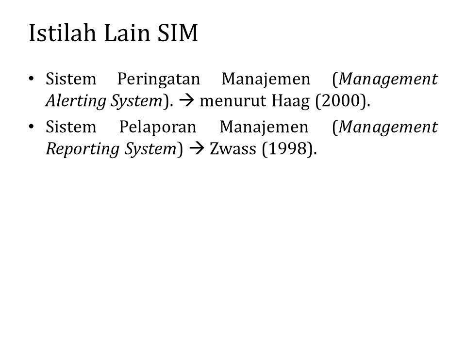 Istilah Lain SIM Sistem Peringatan Manajemen (Management Alerting System).  menurut Haag (2000). Sistem Pelaporan Manajemen (Management Reporting Sys