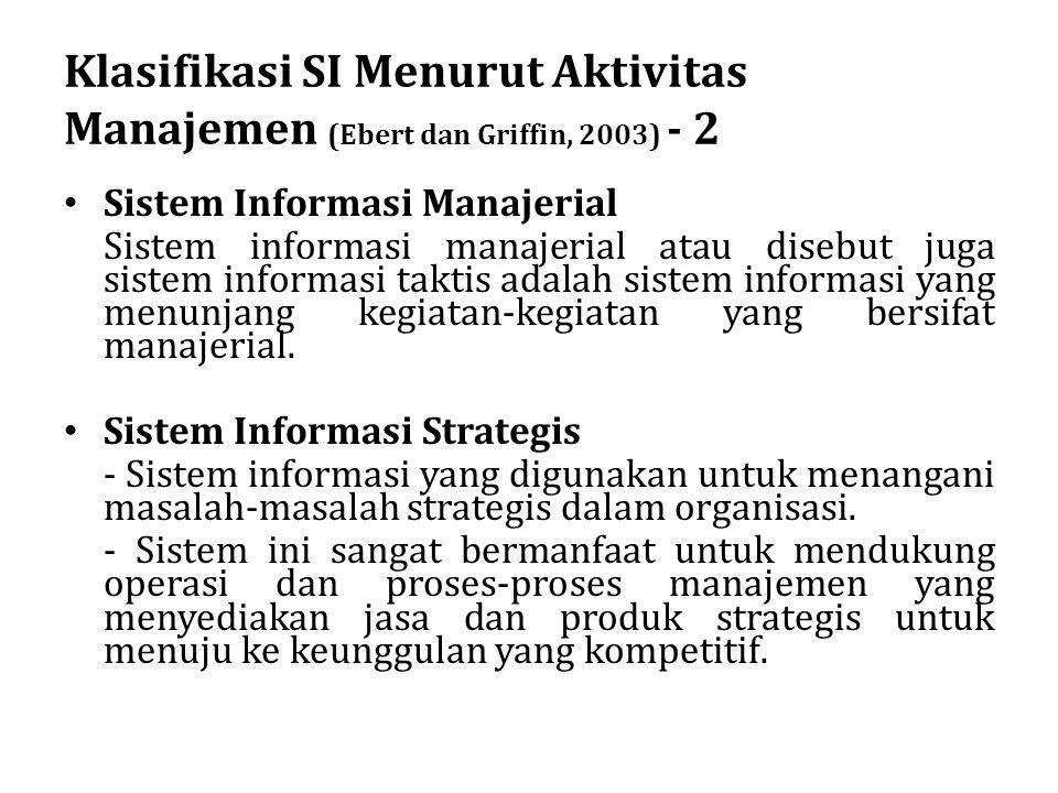 Klasifikasi SI Menurut Aktivitas Manajemen (Ebert dan Griffin, 2003) - 2 Sistem Informasi Manajerial Sistem informasi manajerial atau disebut juga sis