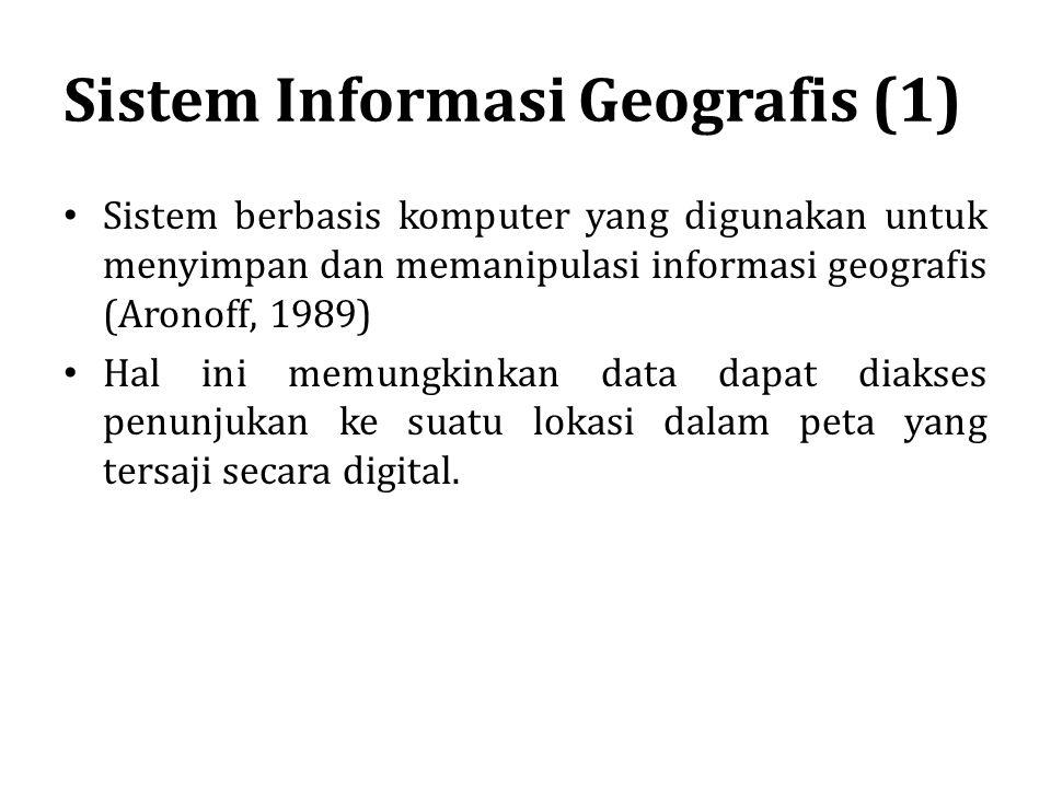 Sistem Informasi Geografis (1) Sistem berbasis komputer yang digunakan untuk menyimpan dan memanipulasi informasi geografis (Aronoff, 1989) Hal ini me