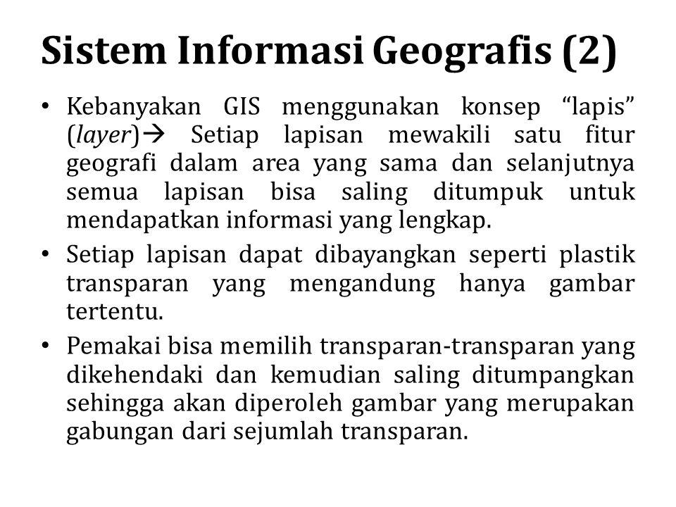 """Sistem Informasi Geografis (2) Kebanyakan GIS menggunakan konsep """"lapis"""" (layer)  Setiap lapisan mewakili satu fitur geografi dalam area yang sama da"""