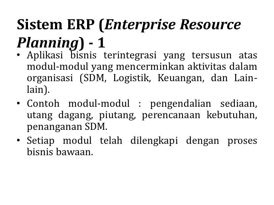 Sistem ERP (Enterprise Resource Planning) - 1 Aplikasi bisnis terintegrasi yang tersusun atas modul-modul yang mencerminkan aktivitas dalam organisasi