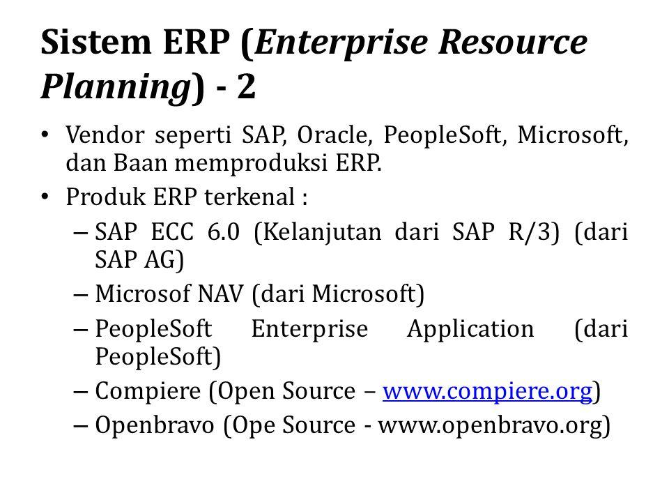 Sistem ERP (Enterprise Resource Planning) - 2 Vendor seperti SAP, Oracle, PeopleSoft, Microsoft, dan Baan memproduksi ERP. Produk ERP terkenal : – SAP