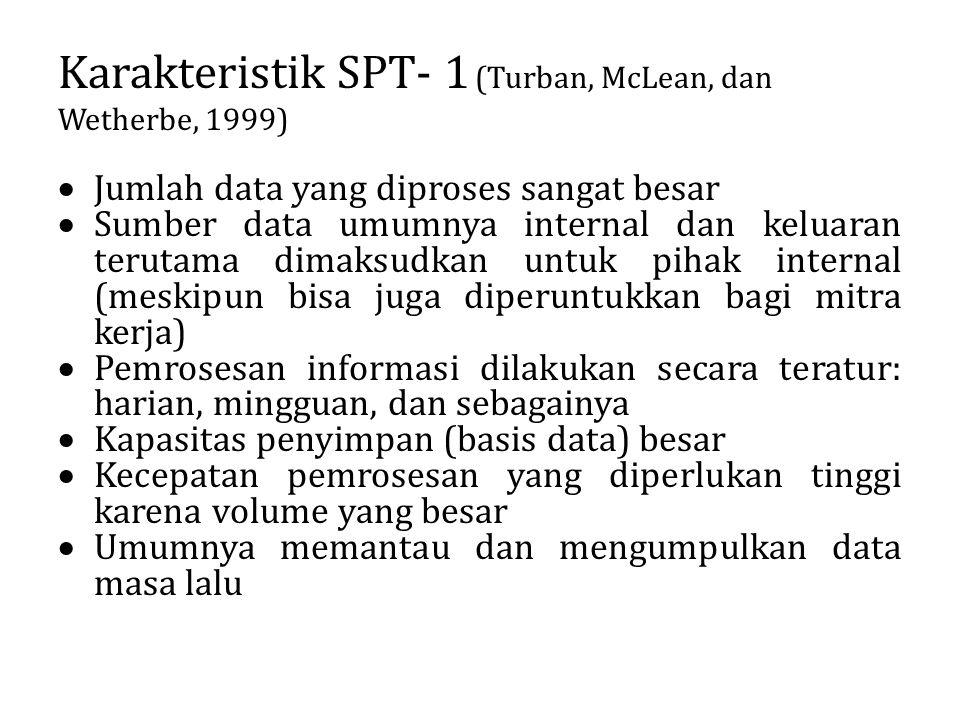 Karakteristik SPT- 1 (Turban, McLean, dan Wetherbe, 1999)  Jumlah data yang diproses sangat besar  Sumber data umumnya internal dan keluaran terutam