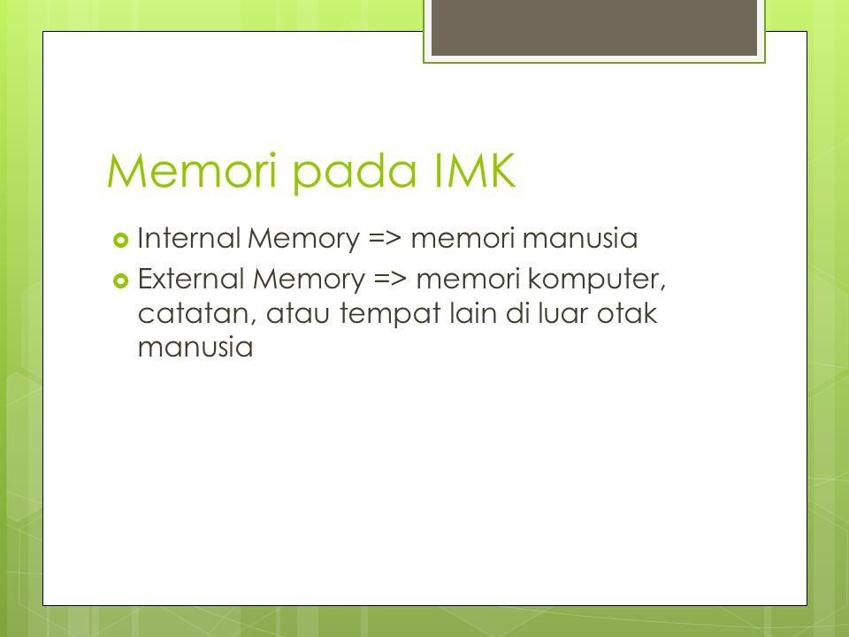 Memori pada IMK  Internal Memory => memori manusia  External Memory => memori komputer, catatan, atau tempat lain di luar otak manusia